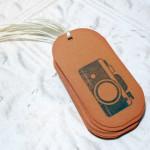 12pc Brown Vintage Camera Distressed Mini Tags