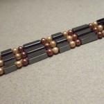 3 strand glass pearl hematite bracelet