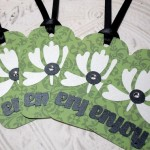 4pc Large Green Enjoy Flower Jewel Tags with Black Ribbon