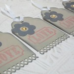4pc Large Kraft Flower and Love Jeweled Distressed Tags with White Ribbon