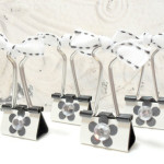 4pc Metallic Black and White Photo Holder Binder Clips