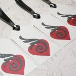 4pc Metallic Flaring Love Black Ribbon Tied Tags