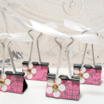 4pc Pink Demask White Metallic Flower Photo Holder Binder Clips