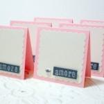 6 pc Pink Metallic White Amore Dimensional Jewel Scallop Mini Cards - 3 x 3