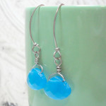 Aqua Blue Wide Briolette Wire Wrapped Drop Earrings