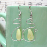 Olive Jade Stone Wire Wrapped Earrings