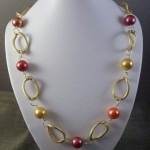 Pearl Gumball Linked Wire Wrapped Necklace