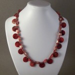 Red Mother of Pearl Shell and Chip Necklace