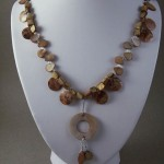 Rose Color Mother of Pearl Wire Wrapped Shell Pendant Necklace