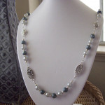 Shimmer Glass and Linked Beaded Necklace