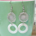 Silver Flower White Mother of Pearl Donut Earrings