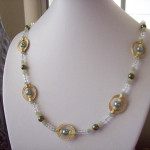 White and Green Round Connector Beaded Necklace