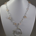 Wire Wrapped Mom Pendant with Pink Czech fire polished glass beads