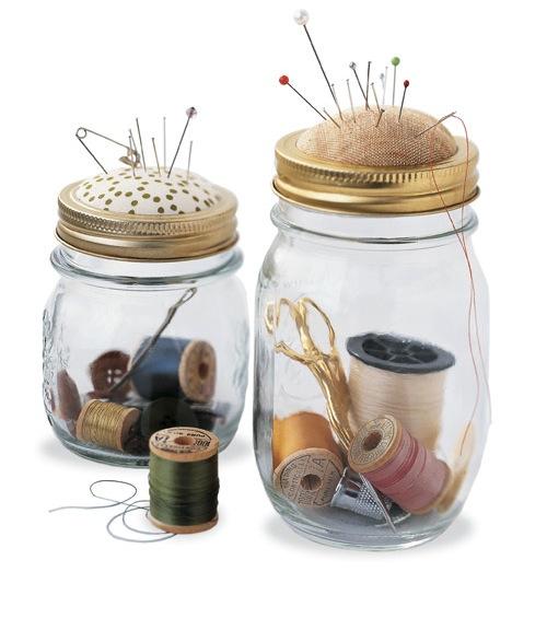 Mason Jar Pin Cushion and Sewing Kit